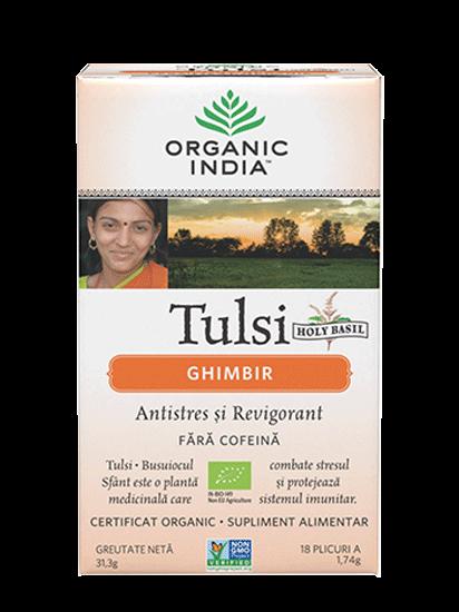 Picture of ORGANIC INDIA Ceai Antistres și Revigorant Natural Tulsi Ghimbir 100% Certificat Organic, fără cofeină
